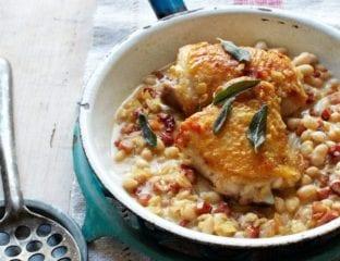 Chicken, pancetta and bean stew with sage