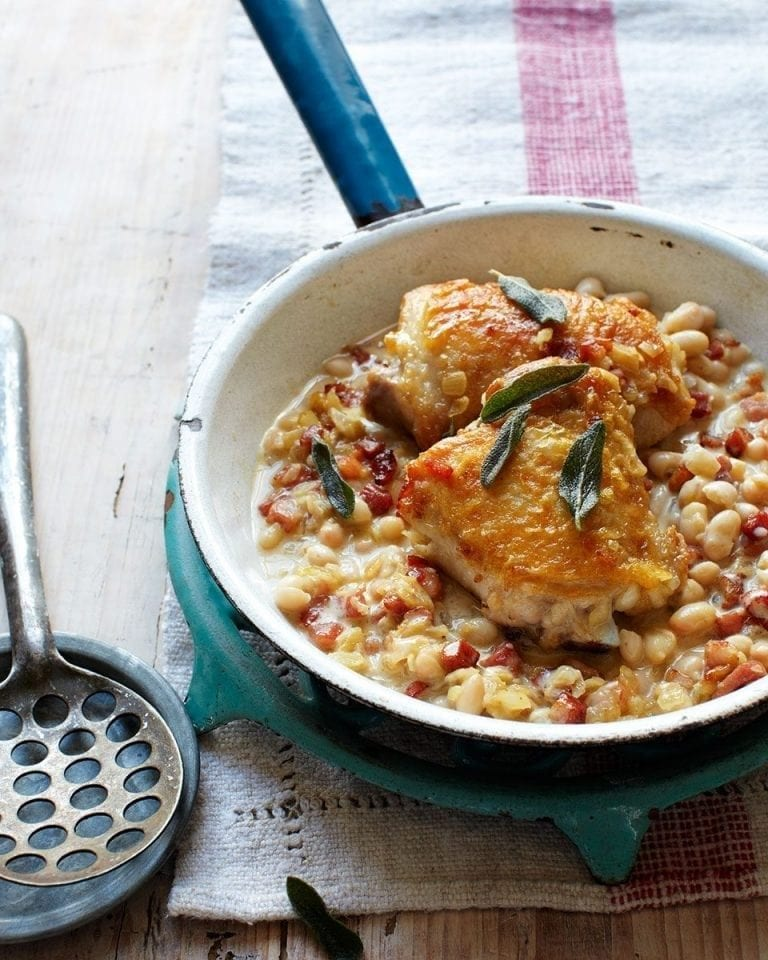 Chicken, pancetta and bean stew with sage