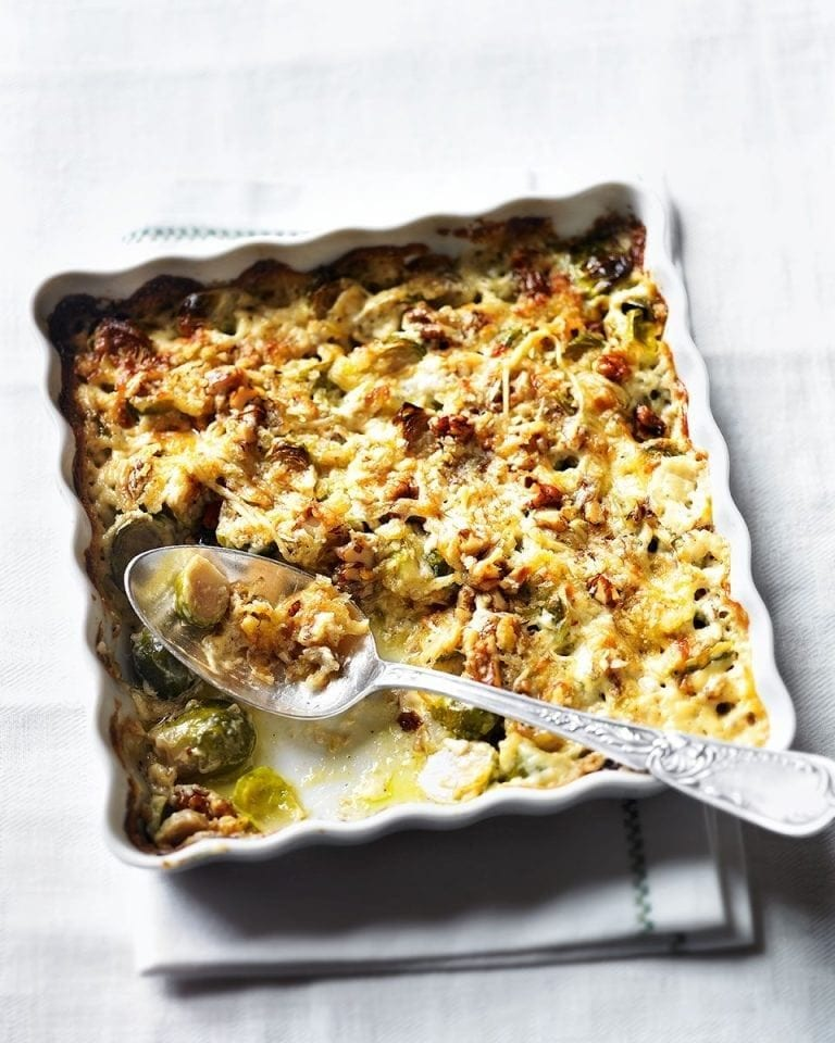 Creamy brussels sprout gratin with walnuts