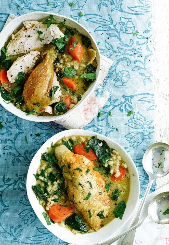 Pot-braised chicken and barley