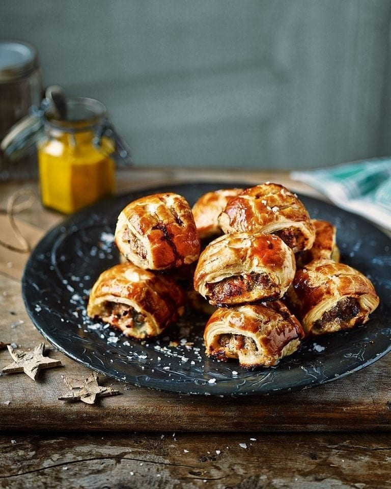 Mustard and tarragon sausage rolls