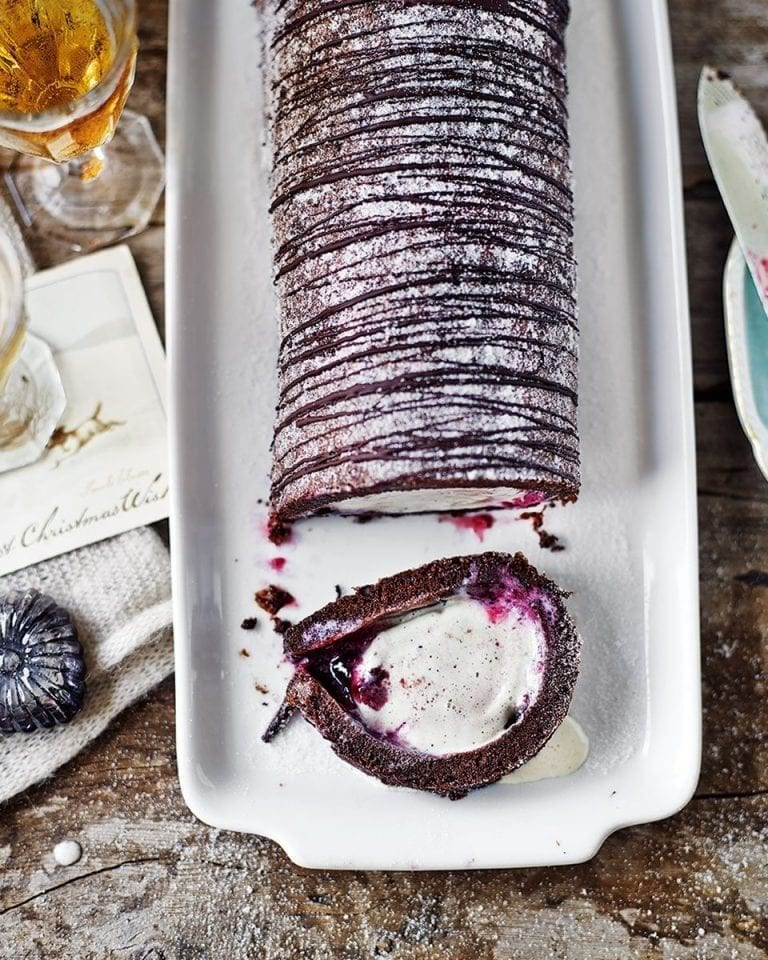 Chocolate, black cherry and vanilla arctic roll