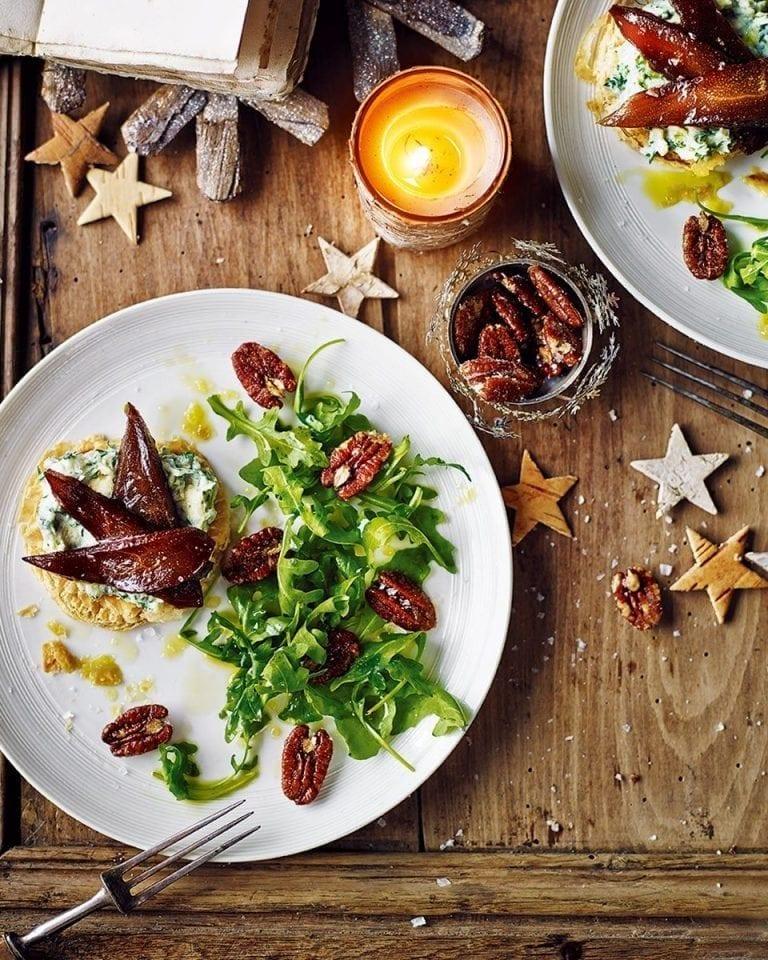 Pickled pear, caramelised pecan and stilton tartlets