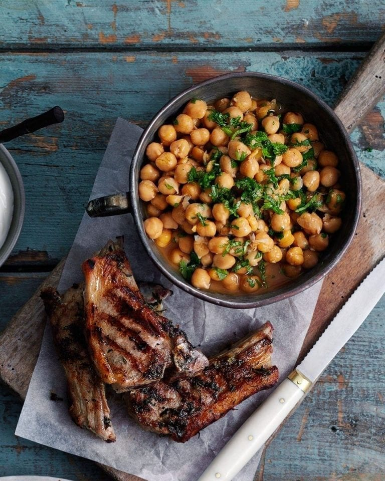 Marinated lamb cutlets with smoky chickpeas