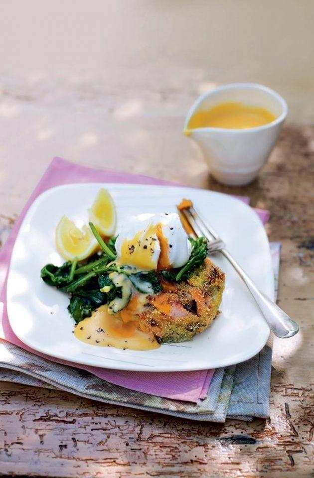 Tea-smoked salmon and coconut fishcakes with lemon hollandaise
