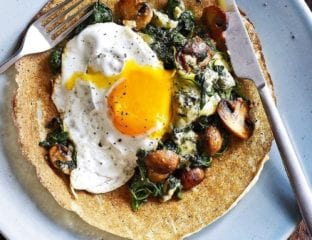 Brunch pancakes with soft egg