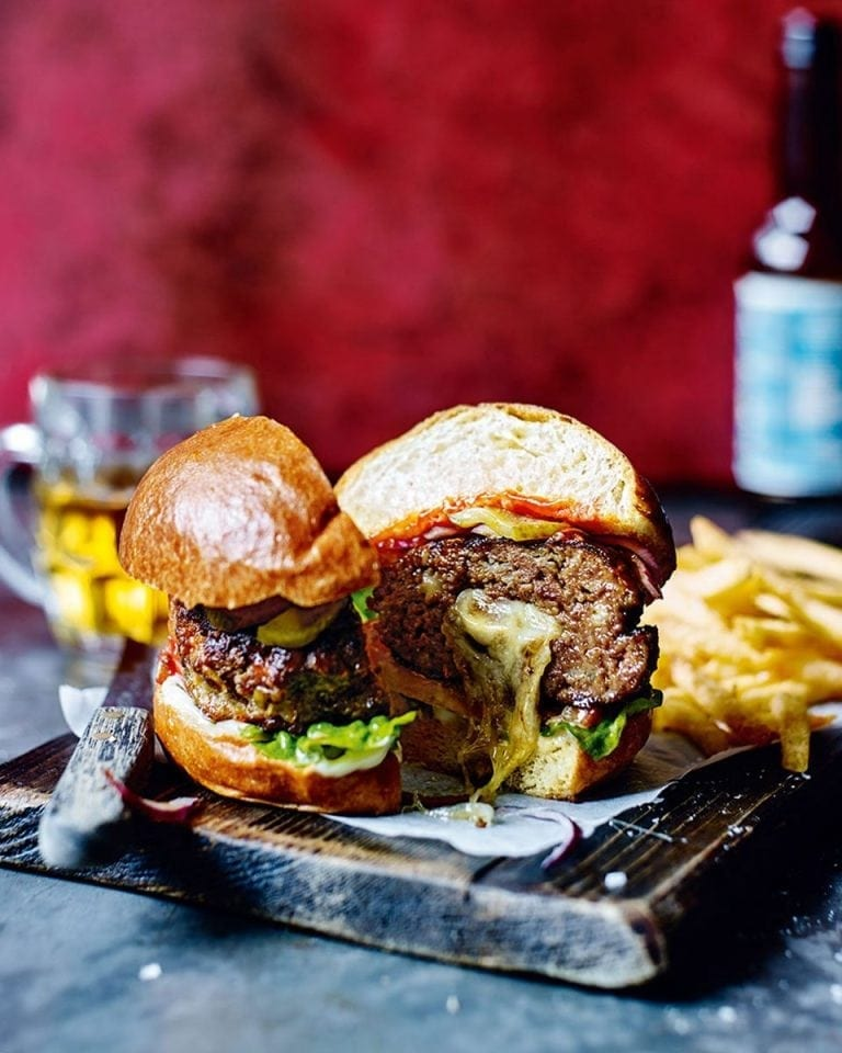 Melt-in-the-middle mozzarella beef burgers | delicious. magazine