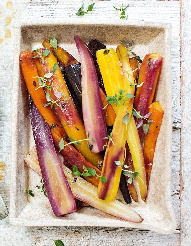 Baked heritage carrots