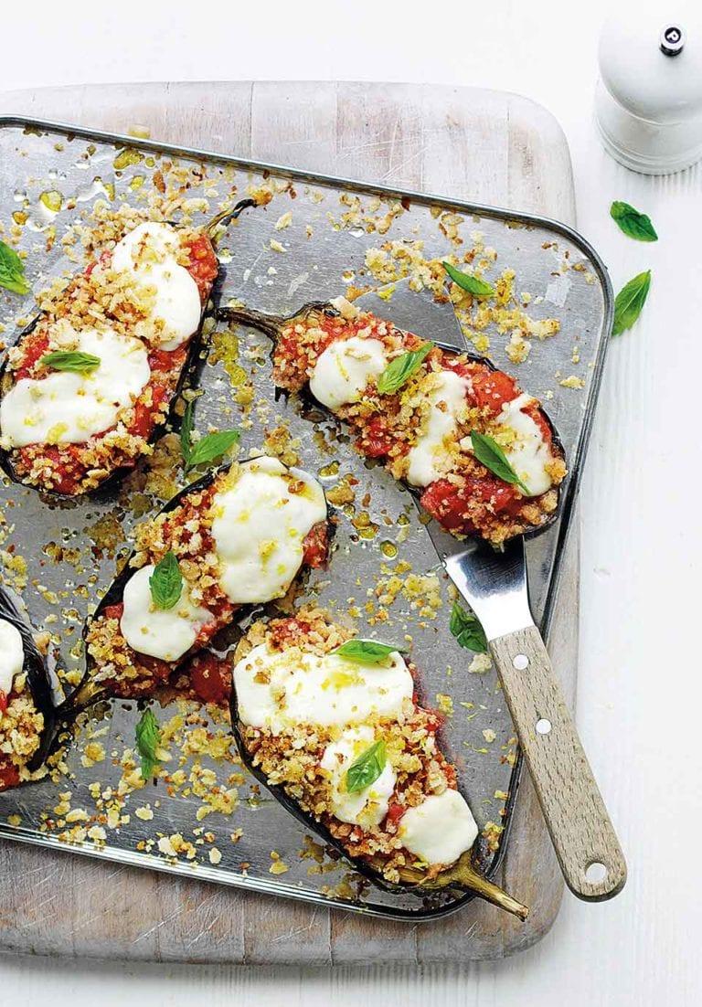 Roasted aubergines with lemon breadcrumbs