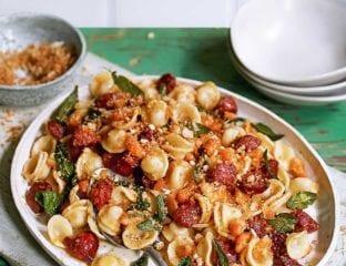 Chorizo, cannellini and sage orecchiette with breadcrumbs