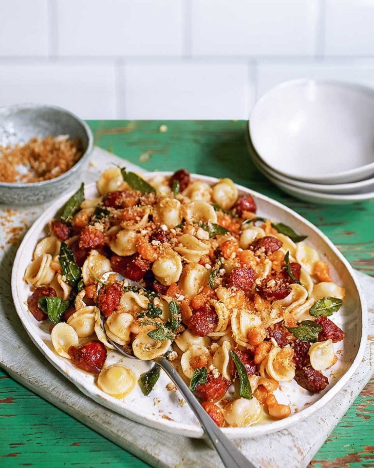 Chorizo, cannellini and sage orecchiette with breadcrumbs