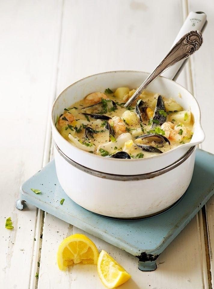 Healthier seafood chowder