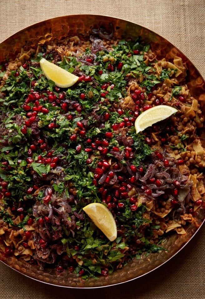 Lentils and pasta with tamarind, sumac and pomegranate