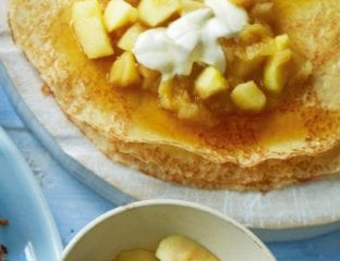 Pancakes with spiced apple compote