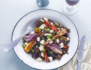Roasted onion and balsamic root vegetables with puy lentils