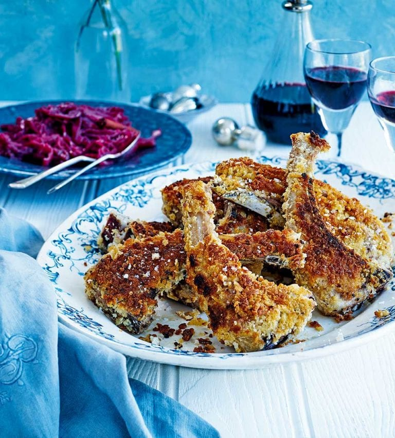 Rick Stein's Icelandic breaded lamb chops with spiced red cabbage