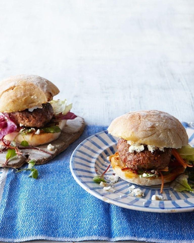 Lamb burgers with feta and harissa