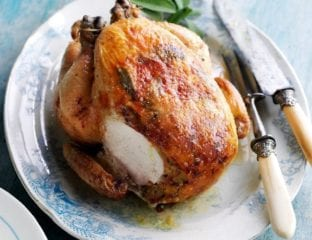 Sage and pancetta-stuffed roast chicken