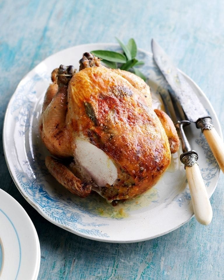 Sage and pancetta-stuffed roast chicken