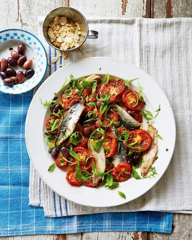 Roasted tomato and sardine salad