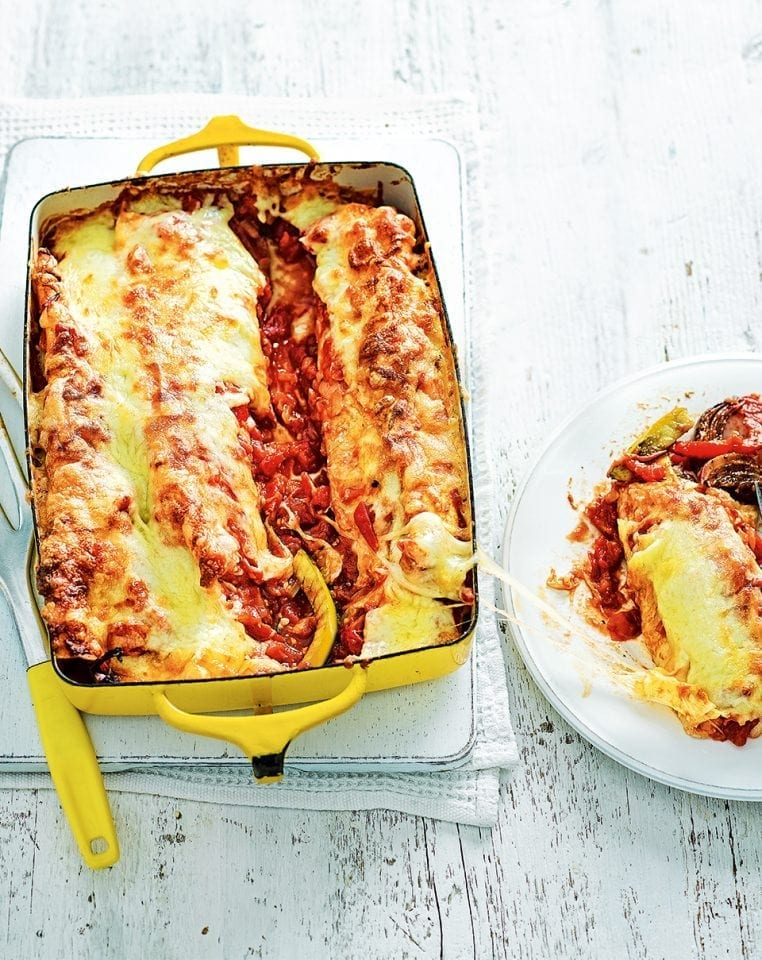 Red pepper and courgette enchiladas
