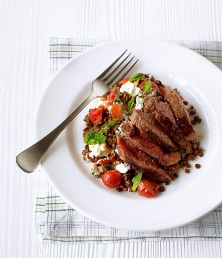 Seared steak with sun-dried tomato and basil puy lentils