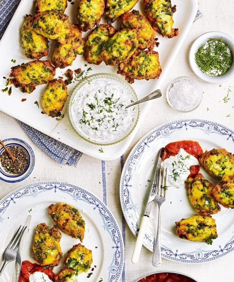 Savoury ricotta and greens fritters