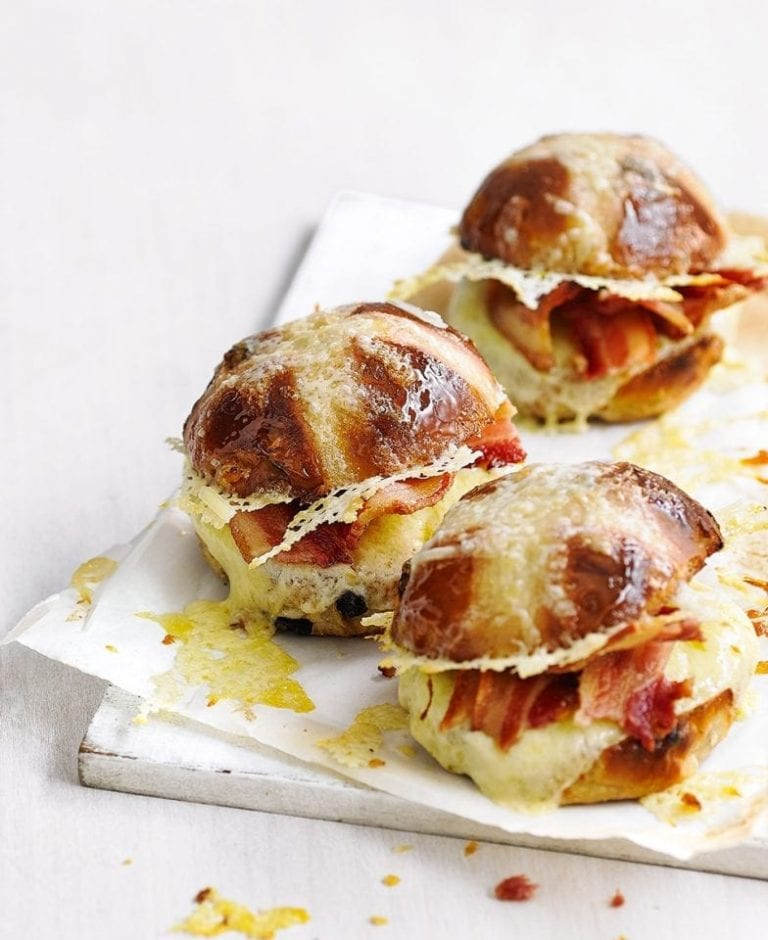 Hot cross cheese and bacon toasties