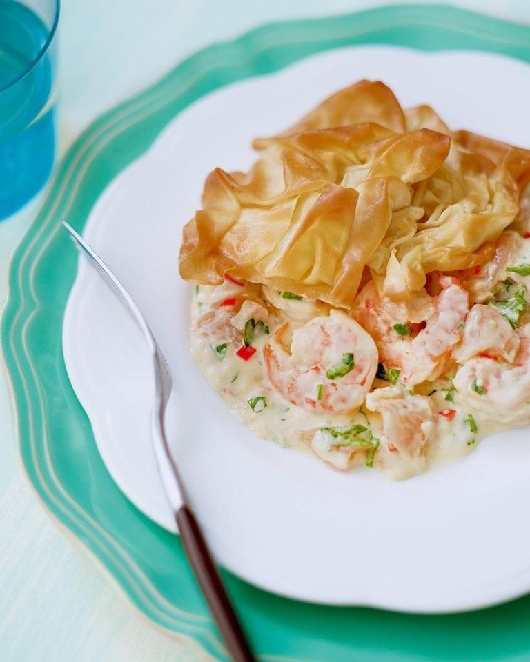 Prawn and salmon pie