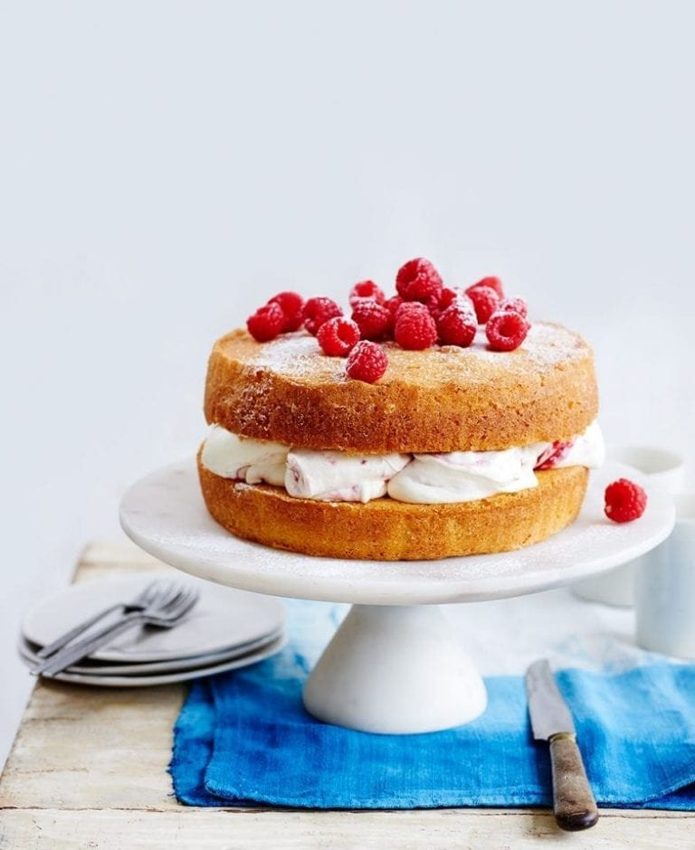 Raspberry and lemon sponge cake