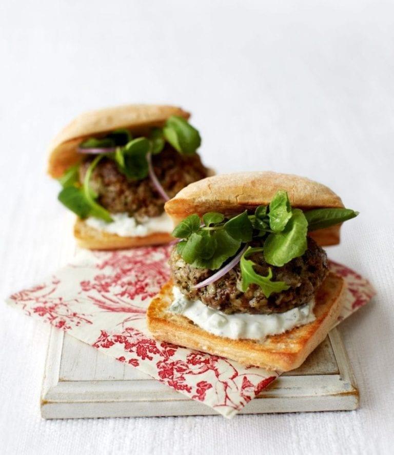Pesto lamb burgers
