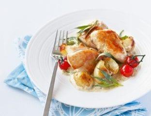 Quick tarragon chicken with crispy potatoes