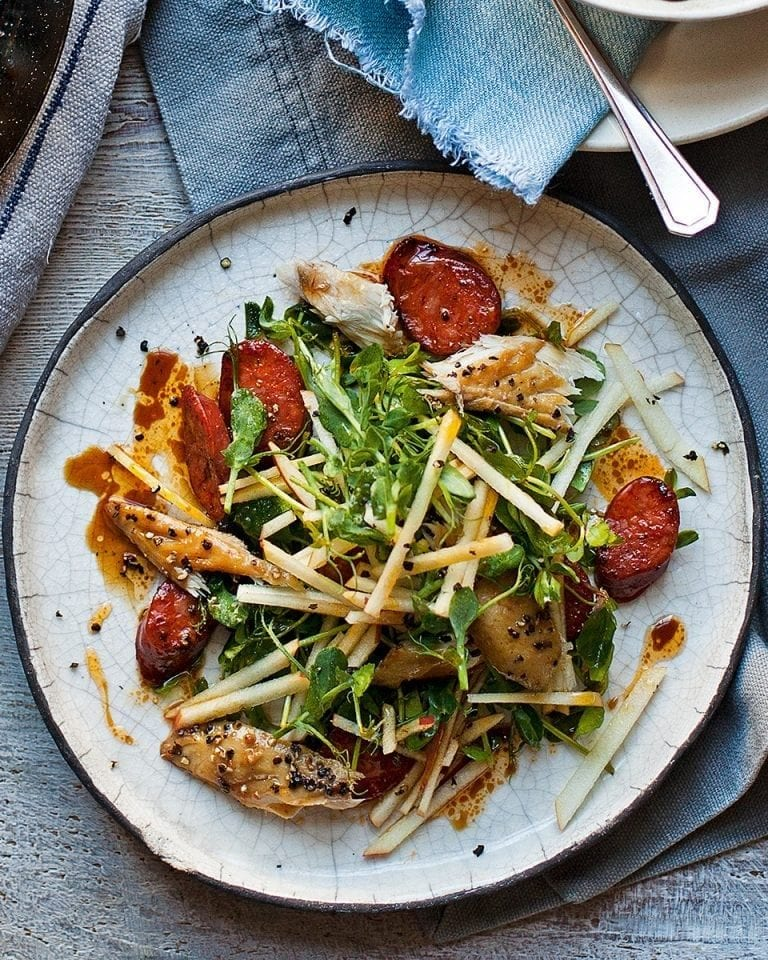 Warm smoked mackerel, apple and chorizo salad