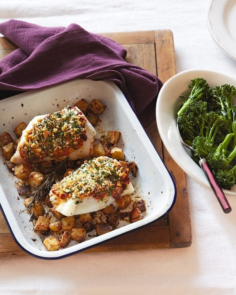 Chilli pesto-crumbed cod fillets with parmentier potatoes