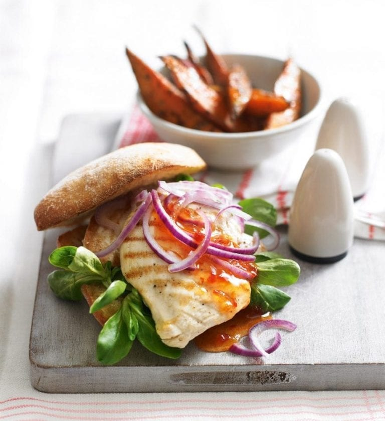 Quick chicken burger with sweet potato wedges