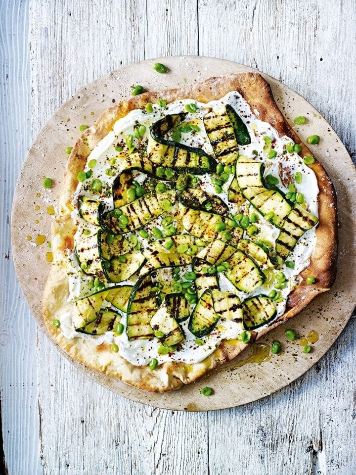 Pizza with broad beans and courgettes