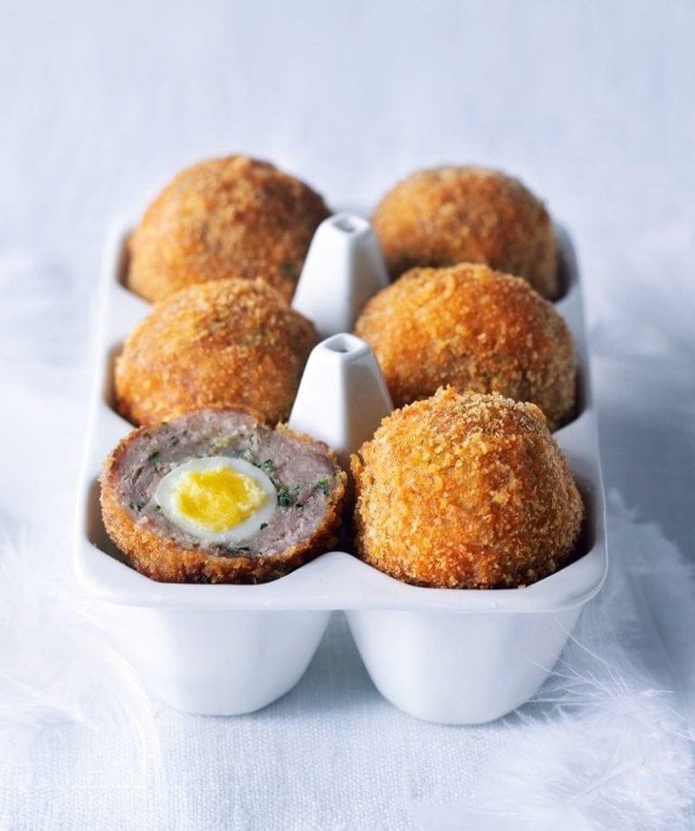 Goose confit scotch eggs