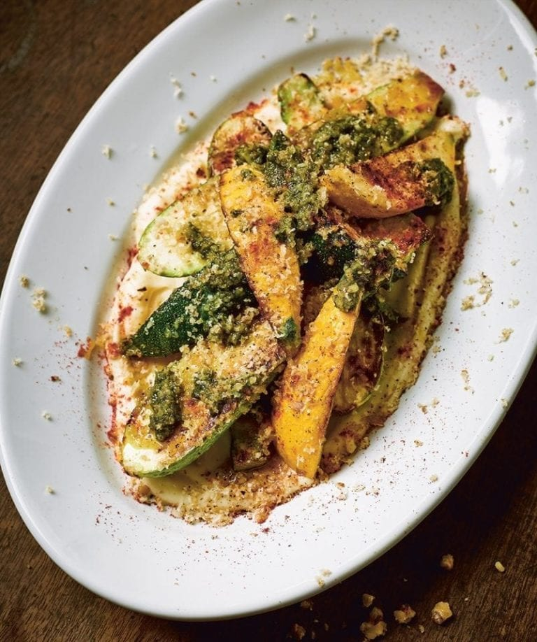 Grilled courgettes with parsnip purée and rocket pesto