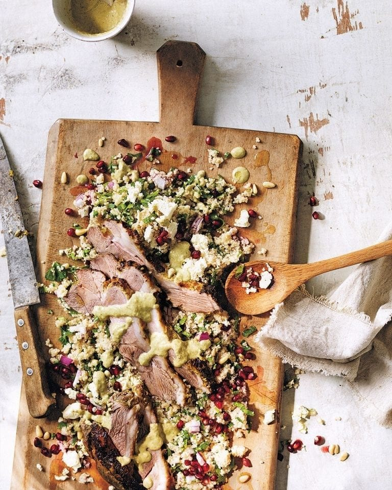 Chia minty buffalo yogurt lamb with wholewheat couscous salad