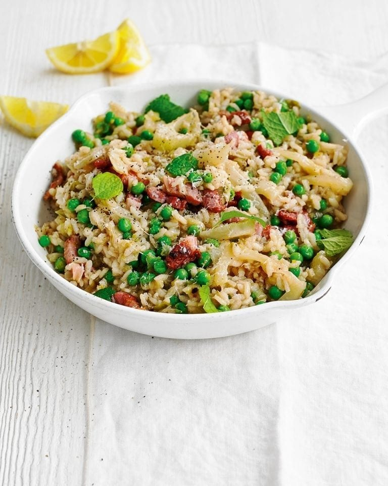 Fennel, pea and bacon risotto