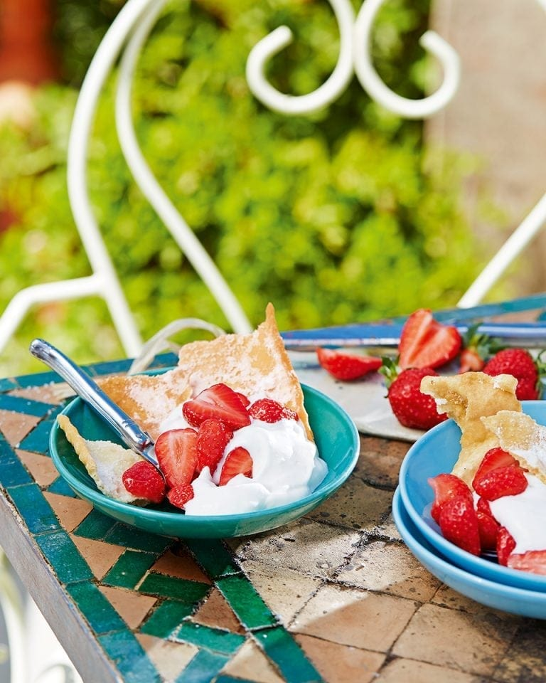 Image of French biscuits, strawberries and syllabub