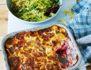 Celeriac, potato and beetroot gratin