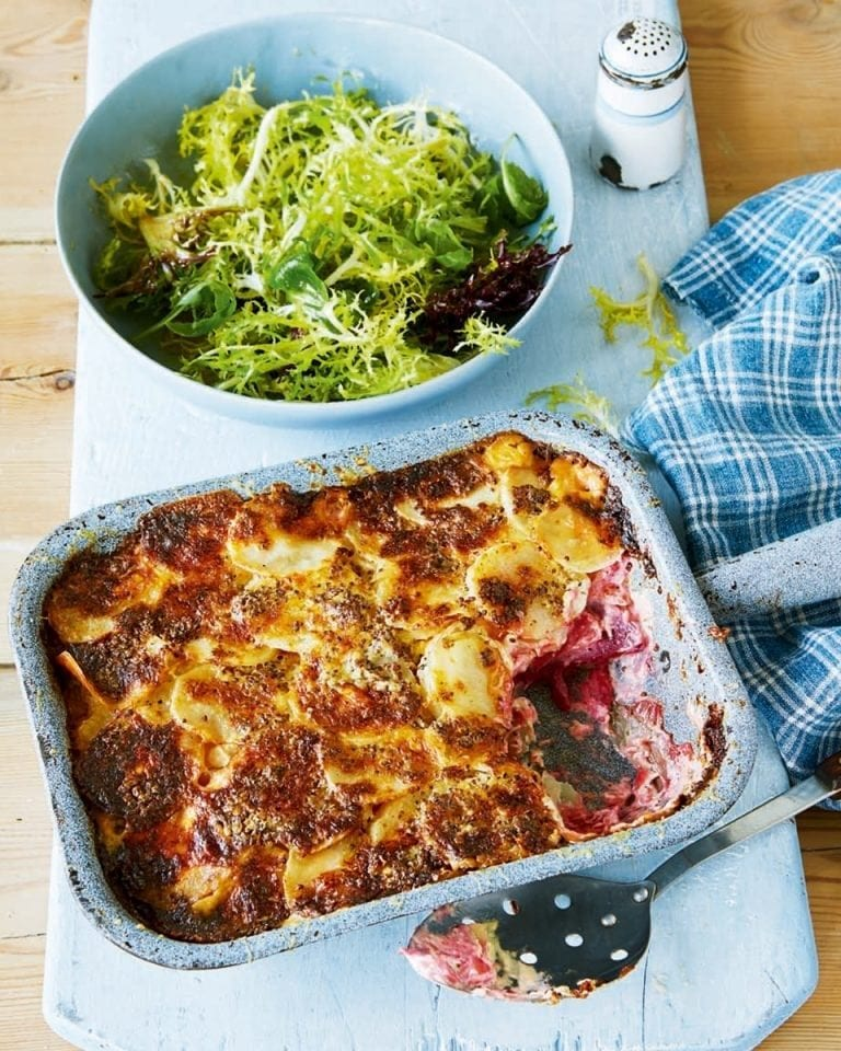 Celeriac, potato and beetroot gratin