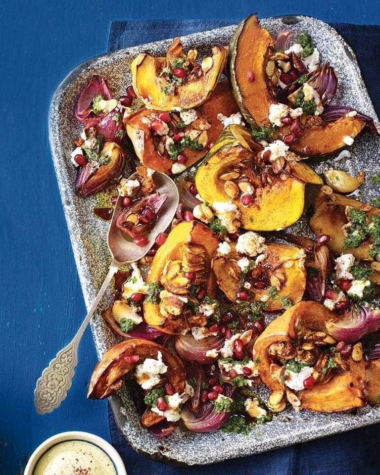 Roast pumpkin with green charmoula and tahini
