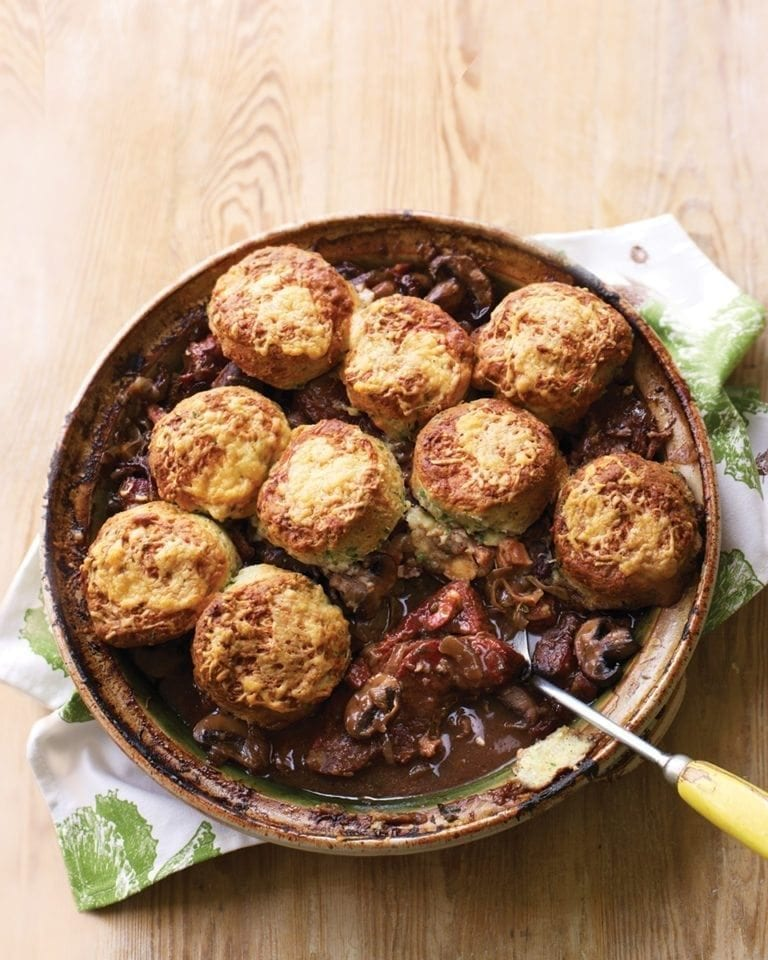 Braised beef in ale with mustard scone topping