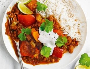 Butternut squash chilli with rice