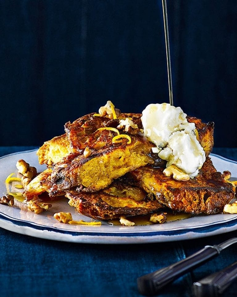 Panettone french toast with maple syrup, mascarpone and walnuts