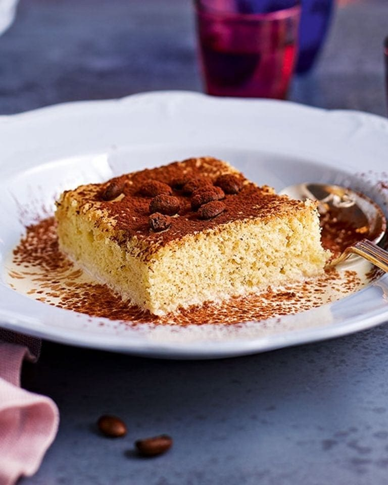 Tres leches cake with white russian syrup