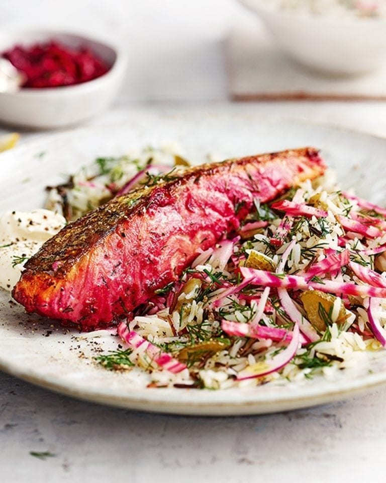 Beetroot-marinated salmon with dill pickled rice salad