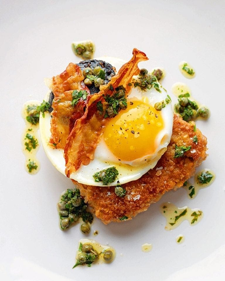 Tom Kerridge's pork schnitzel with 'executive' fried duck egg